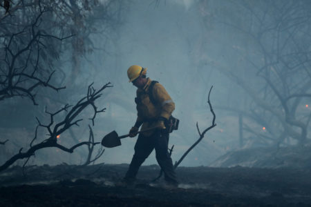 A firefighter working in the California fires