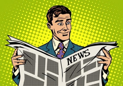illustration of man reading the news